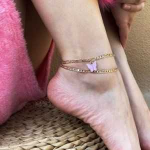 Pink Butterfly Chain Set of Anklets